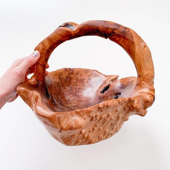 """Vintage Boho Carved Burl Wood """"Basket"""""""